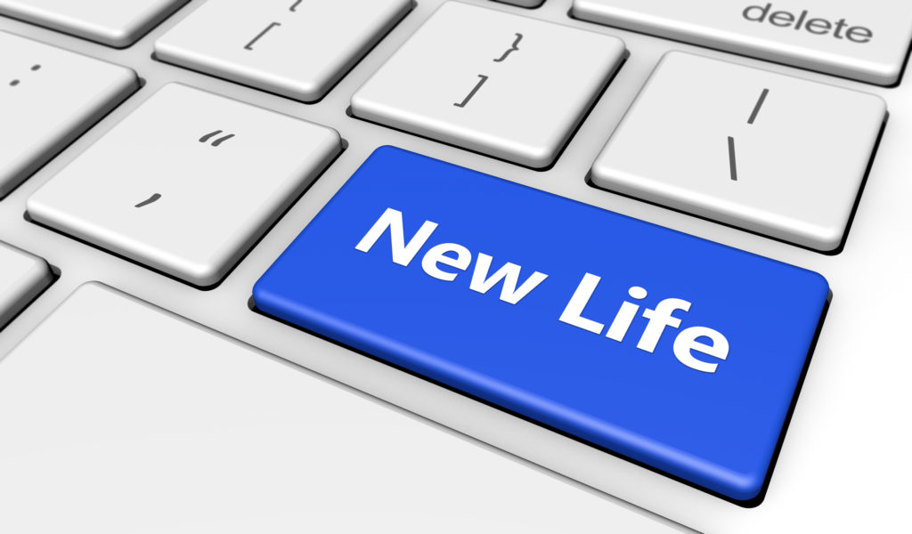 New lifestyle concept with new life word and sign printed on a blue computer button 3d render image.